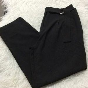 Have black belted cropped belted work pants